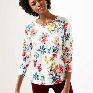 NWT LOFT Petite Floral Sweatshirt